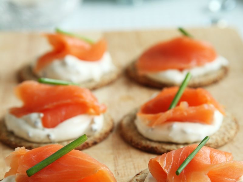 Smoked Salmon and Topped Crackers
